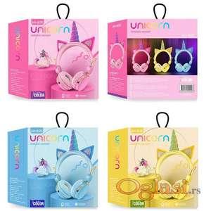 Bluetooth slusalice za decu Jednorog vise boja