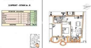 Rotkvarija-FANTASTČAN DVOSOBAN STAN 39 m2 U IZGRADNJI-povraćaj PDV-a