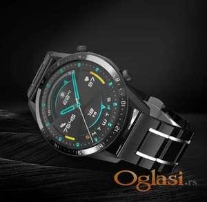 Crna keramička narukvica 22 mm sa srebrnim linijama za Samsung smart watch