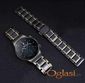 Crna keramička narukvica 22 mm sa zlatnim linijama za Huawei smart watch