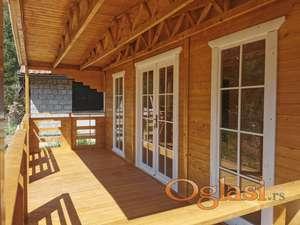 Montažne kuće, brvnare PRO5 - 4.5mx6m + 2mx6m