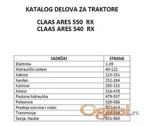 Claas Ares 550 RX i Claas Ares 540 RX Katalog delova