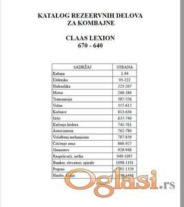 Claas Lexion 670 - 660 - 650 - 640 Katalog delova