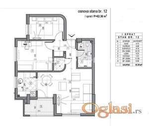 LEP DVOIPOSOBAN STAN 62 m2 U NOVOGRADNJI-povrat PDV
