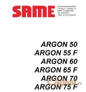 Same Argon 50-55F-60-65F-70-75F Radionički priručnik
