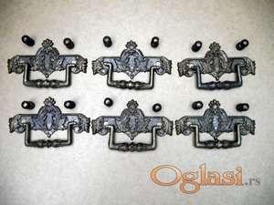 Rucice stilske za fioke mesingane 6 kom. koriscene