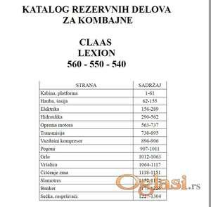 Claas Lexion 560 - 550 - 540 Katalog dijelova