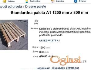 Drvena paleta Euro dimenzije A1 1200x800mm.