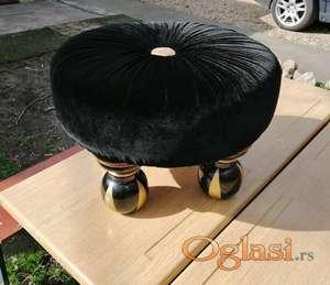 Tabure turban - crni pliš