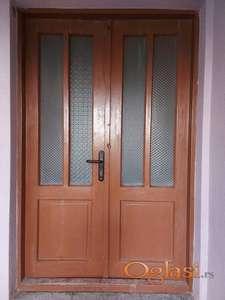 Dvokrilna ulazna vrata od punog drveta-hrastovina