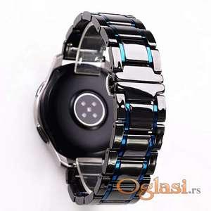 Crna keramička narukvica 22 mm sa plavim linijama za Samsung smart watch