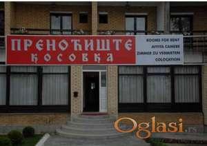 "Izdaje se Hotel ""Kosovka"" na Čamurlijskom putu"