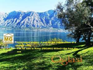 Prodaje se ravan plac u Kotoru(PRCANJ) pov. 653m2-15m od mora