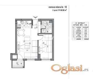 LEP DVOSOBAN STAN 39 m2 U NOVOGRADNJI-povrat PDV