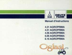 Deutz Fahr Agroprima  4.31- 4.51 -4.56 - 6.06 - 6.16 Uputstvo