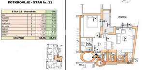Rotkvarija-POŽELJAN DVOSOBAN STAN 42 m2 U IZGRADNJI-povraćaj PDV-a