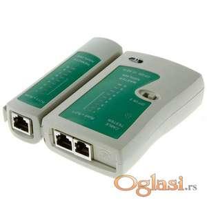 Tester mrežnih RJ45 LAN kablova i telefonskih RJ11, RJ12