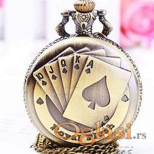 Vintage Playing Poker Cards Quartz džepni sat