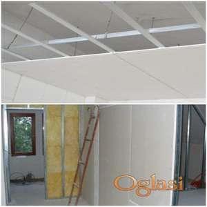 Pregradni zidovi, spustanje plafona, izolacija, gipsani radovi