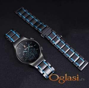 Crna keramička narukvica 22 mm sa plavim linijama za Huawei smart watch