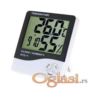 Digitalni termometar vlagometar sat alarm HTC 1