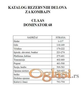 Claas Dominator 68 - Katalog delova