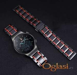 Crna keramička narukvica 22 mm sa crvenim linijama za Huawei smart watch