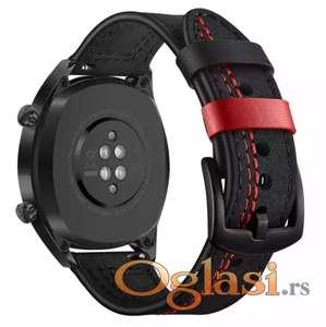 Samsung gear s3 frontier narukvica (kozna crna, crven step)