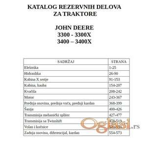 John Deere 3300 (X) - 3400 (X) Katalog delova