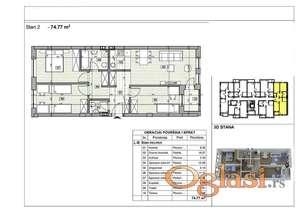 Nov četvorosoban stan, 75 m2, useljiv, povrat PDV-a