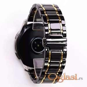 Crna keramička narukvica 22 mm sa zlatnim linijama za Samsung smart watch