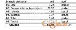 Stan,Beograd,Palilula,Karaburma,Aleksandra Fleminga,44,70m2,62580 eur+PDV ID#1143