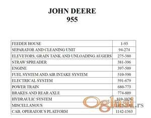 John Deere 955 kombajn - Katalog delova