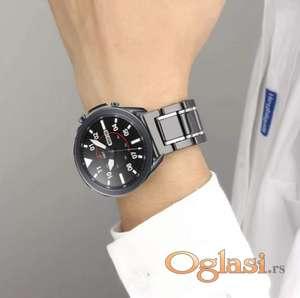 Crna keramička narukvica 22 mm sa srebrnim linijama za Huawei smart watch