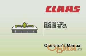 Claas Disco kosačice - Uputstva za rukovanje i održavanje