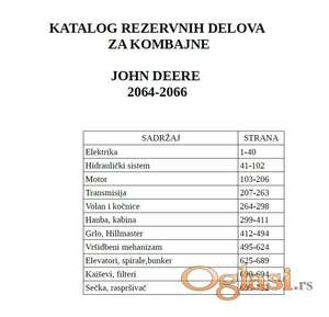 John Deere 2064 - 2066 Katalog delova