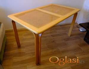 Komplet drveni sto i 4 stolice sa španskom trskom