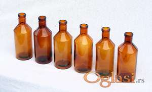Apotekarske stare flašice, braon, 6 kom.