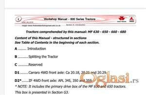 Massey Ferguson 630-650-660-680 radionički priručnik