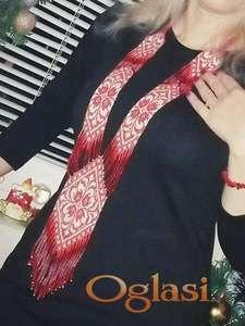 Ogrlica duga, tkana etno stil
