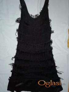 Akcija, svečana crna pamučna haljina 38, M s resama