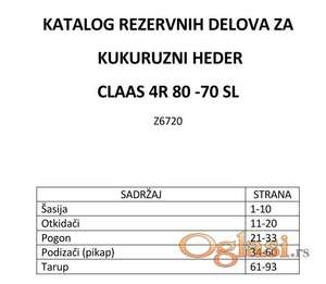 Kukuruzni heder Claas 4R 80-70 SL katalog delova