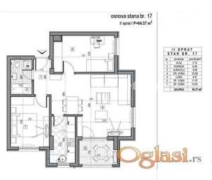 LEP DVOIPOSOBAN STAN 64 m2 U NOVOGRADNJI-povrat PDV