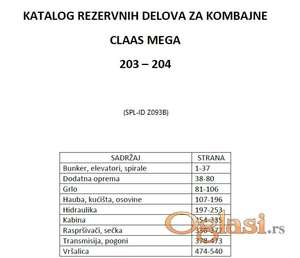 Claas Mega 203-204 katalog delova