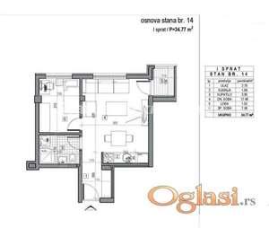 LEP DVOSOBAN STAN 35 m2 U NOVOGRADNJI-povrat PDV