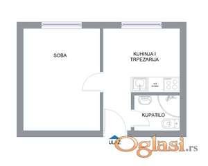 Komplet namešten stan, 30 m2 kod Železničke stanice