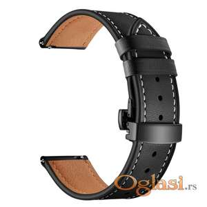 Crna kožna narukvica za Samsung Huawei smart watch