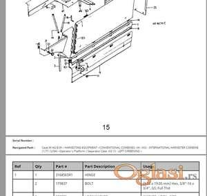 IH 953 kombajn - Katalog delova