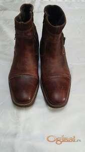 Kožne duboke muške braon čizme