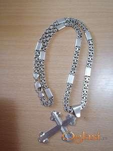 Srebrni lanac kraljevski rad sa plocicama 57g